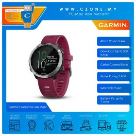 Garmin Forerunner 645 Music 42mm GPS Running Watch with Music and Contactless Payments Smartwatch (Cerise Colored Band)