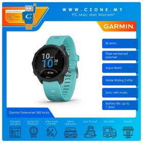Garmin Forerunner 245 Music 30.4mm GPS Running Wearable With Advanced Training Features Smartwatch (Aqua)