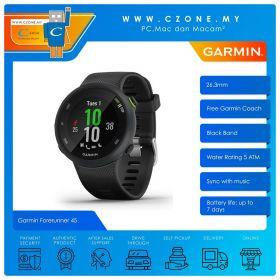 Garmin Forerunner 45 Music 26.3mm GPS Wearable Device With Garmin Coach Smartwatch (Black)