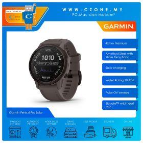 Garmin Fenix 6s Pro Solar 42mm Premium Multisport GPS Wearable Device (Amethyst Steel with Shale Gray Band)