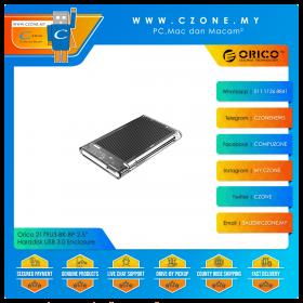 "Orico 2179U3-BK-BP 2.5"" Harddisk USB 3.0 Enclosure with Aluminium Black Heatsink (Transparent)"
