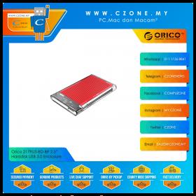 "Orico 2179U3-RD-BP 2.5"" Harddisk USB 3.0 Enclosure with Aluminium Red Heatsink (Transparent)"