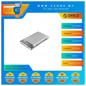 "Orico 2179U3-SV-BP 2.5"" Harddisk USB 3.0 Enclosure with Aluminium Silver Heatsink (Transparent)"