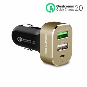 First Champion Car Charger (USB-C, 9A 45 Watts, Gold)
