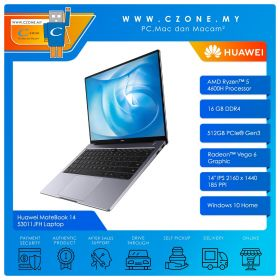 "Huawei MateBook 14 53011JFH Laptop - 14"", R5-4600H, 3.0GHz, 16GB, 512GB SSD, Radeon, Win 10 (Space Grey)"
