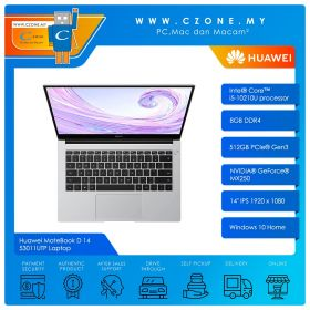 "Huawei MateBook D 14 53011UTP Laptop - 14"", i5-10210U, 1.6GHz, 8GB, 512GB SSD, MX250, Win 10 (Mystic Silver)"