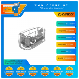 "Orico 6139C3-UK-CR-BP Single Docking Station (Single Dock 2.5""/3.5"", USB C, Transparent)"