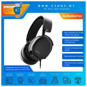 Steelseries Arctis 3 Over-Ear Wired Gaming Headset For PS4 & PS5 (Black)