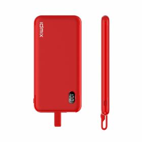 Idmix P10ci Integrated Lightning Cable 8,000mAh Power Bank (Red)