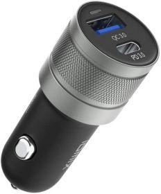 Idmix C06P Car Charger (1x USB QC 3.0, 1x USB-C PD, 24 Watts, Black)