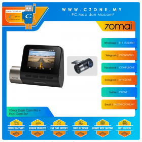 70mai Dash Cam Pro + Real Cam Set (2592x1944P, 140 Degree, WiFi-N, Voice Control)