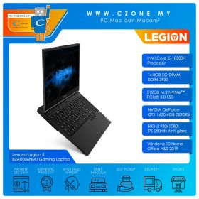 "Lenovo Legion 5 82AU006NMJ Gaming Laptop - 15.6"", i5-10300H, 2.5GHz, 8GB, 512GB SSD, GTX1650, Win 10, Office H&S (Phantom Black)"