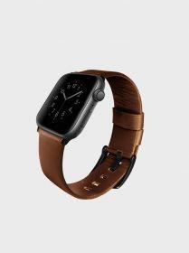 Uniq Mondain Genuine Leather Watch Band (Apple Watch 44 mm, Sepia Brown)