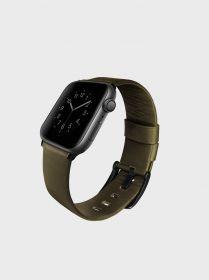 Uniq Mondain Genuine Leather Watch Band (Apple Watch 44mm, Olive)