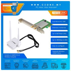 Totolink A1200PE PCI-E Wireless Adapter (Dual Band-AC1200, Extension Antennas)