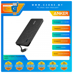 Anker A1222H11 PowerCore+ Metro 10000 Integrated Lightning Cable 10,000mAh with Lightning Input Power Bank (Black)