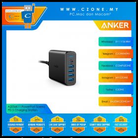 Anker A2056K11 PowerPort Speed PD 5 Charging Station (4x USB, 1x USB-C PD, 30 Watts, Black)