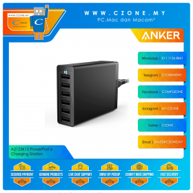 Anker A2123K12 PowerPort 6 Charging Station (6x USB, 60 Watts, Black)