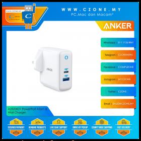 Anker A2322K21 PowerPort Atom III Wall Charger (1x USB IQ, 1x USB-C IQ, 45 Watts, White)