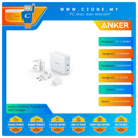 Anker A2629H21 PowerPort III Wall Charger (2x USB-C PD, 60 Watts, Travel, White)