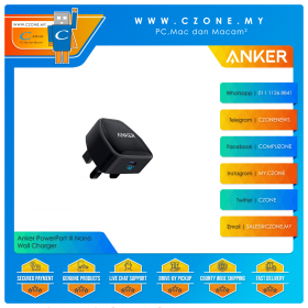 Anker PowerPort III Nano Wall Charger  (1x USB-C, 20 Watts, Black)