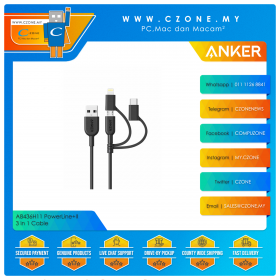 Anker A8436H11 PowerLine+II 3 in 1 Cable (90CM, Black)