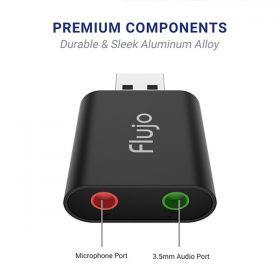 Flujo USB Audio Adapter - Speaker & Headphone Port - 2 x 3.5MM Port