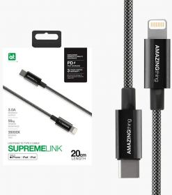 AMAZINGthing SupremeLink Power Max Lightning to USB-C Cable (0.2M, Black)