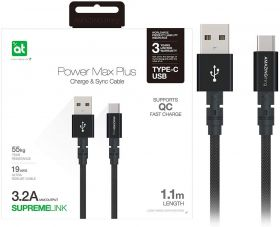 AMAZINGthing SupremeLink Power Max USB-A to USB-C Cable (1.1M, Black)