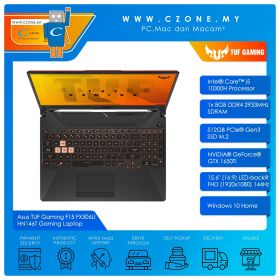 "Asus TUF Gaming F15 FX506LI HN146T Gaming Laptop - 15.6"", i5-10300H, 2.5GHz, 8GB, 512GB SSD, GTX1650TI, Win 10 (Grey Metal)"