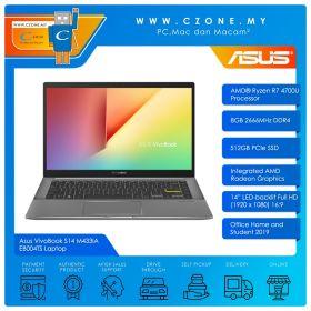 "Asus VivoBook S14 M433IA EB004TS Laptop - 14"", R7-4700U, 2.0GHz, 8GB, 512GB SSD, Radeon, Win 10, Office H&S (Indie Black)"