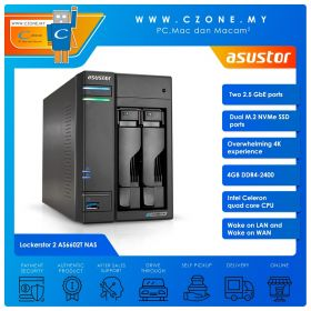 Asustor Lockerstor 2 AS6602T NAS (2-bay, QC 2.0GHz, 4GB, 2.5GBe x2, Diskless)