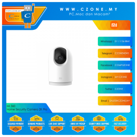 Mi 360 Home Security Camera 2K Pro (2K, 3MP, 360 Degree Panorama, WiFi-AC, Two-Way Audio, Full Colour Night Vision, MicroSD Up to 32GB)
