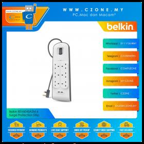 Belkin BSV604SA2M 6 Surge Protection Strip (6x UK Sockets And 2x USB, 2M)