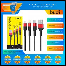 Budi CB343BK Nylon Braided Lightning, USB-C, Micro USB, 3 in 1 Cable (1.2M)