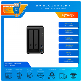 Synology DiskStation DS720+ NAS (2-bay, QC 2.0GHz, 2GB, GbE x2, Diskless)