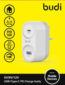 Budi CC229WH Wall Charger (1x USB QC 3.0, 1x USB-C PD)