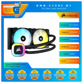Corsair H100 RGB 240 AIO CPU Liquid Cooler (AMD, Intel, 2x 120mm Fan, ARGB)
