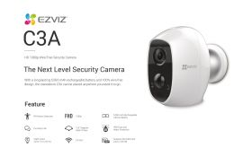 Ezviz C3A Wire-Free Security Camera (1080P, 125 Degree, WiFi-N, PIR, IP65 Water Resistance, Built-in Battery 5500mAh, Two-Way Audio, Night Vision, MicroSD Up to 128GB)