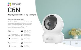 Ezviz C6N Indoor Wi-Fi Pan-Tilt Camera (1080P, 85 Degree, WiFi-N, Privacy Shutter, Two-Way Audio, Smart Tracking, Smart Night Vision, MicroSD Up to 256GB)