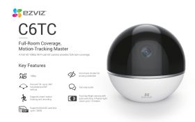 Ezviz C6TC Indoor Wi-Fi Pan-Tilt Camera (1080P, 95 Degree, WiFi-N, Privacy Shutter, Two-Way Audio, Smart Tracking, Night Vision, MicroSD Up to 128GB)