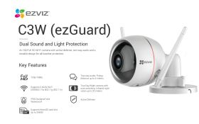 Ezviz C3W Ezguard Husky Air Integrated Siren And Strobe Light Outdoor Smart Wi-Fi Camera (1080P, 2.8mm, 118 Degree, WiFi-N, IP66 Water Resistance, Two-Way Audio, Night Vision, MicroSD Up to 128GB)