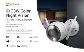 Ezviz C3W Color Night Vision Ezguard Husky Air Integrated Siren And Strobe Light Outdoor Smart Wi-Fi Camera (1080P, 2.8mm, 130 Degree, WiFi-N, IP67 Water Resistance, Two-Way Audio, Color Night Vision, MicroSD Up to 256GB)