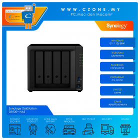 Synology DiskStation DS920+ NAS (4-bay, QC 2.0GHz, 4GB, GbE x2, Diskless)
