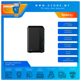 Synology DiskStation DS220+ NAS (2-bay, DC 2.0GHz, 2GB, GbE x2, Diskless)
