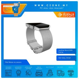 Fitbit Blaze Accessory Leather Band With Frame (Mist Grey, Small)