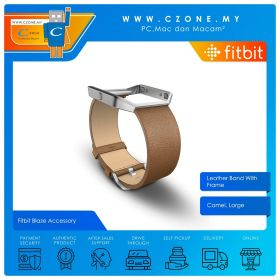 Fitbit Blaze Accessory Leather Band With Frame (Camel, Large)