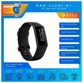 Fitbit Charge 4 Fitness Smartwatch (Black / Black)