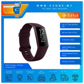 Fitbit Charge 4 Fitness Smartwatch (Rosewood / Rosewood)