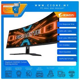 "Gigabyte G34WQC Curved Gaming Monitor (34"", 3440x1440, VA, 144Hz, 1ms, HDMI x2, DP x 2, SPK, VESA)"